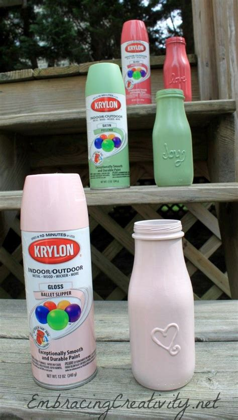 puffy paint bottles then spray paint good idea for place