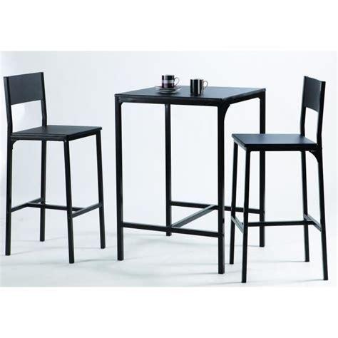 table cuisine 2 personnes kool ensemble table bar en métal et mdf 2 personnes 60x60