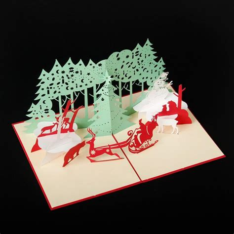 handmade santa ride christmas cards creative kirigami
