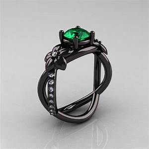 Designer Classic 18K Black Gold 1.0 CT Emerald Diamond ...