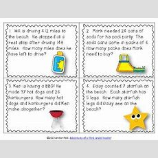 Fun In The Sun Math Task Cards {common Core Freebie}  Seasonal Math  Summer  Math Task Cards