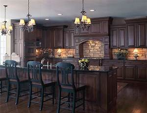 old world style kitchen with stone backsplash dark wood With kitchen cabinets lowes with old world metal wall art