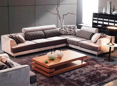 Living Room Tables : Beautiful Grey Sofa Brown Rug Wood