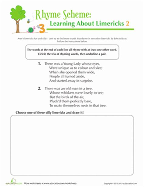 rhyme scheme worksheets the large and most comprehensive