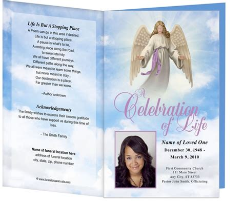 holy funeral program template light dark skin