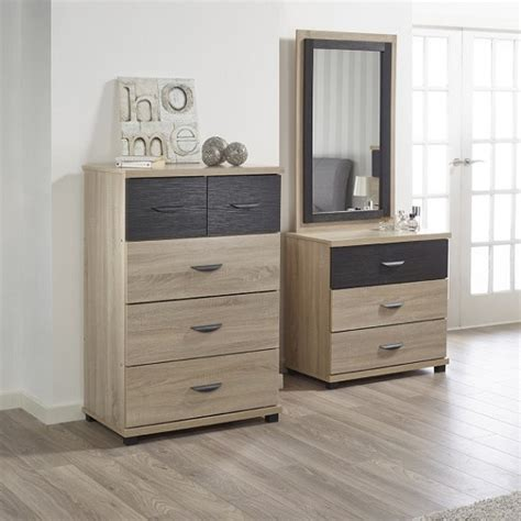 Black Wide Chest Of Drawers by Margate Wide Chest Of Drawers In Sonoma Oak And Black