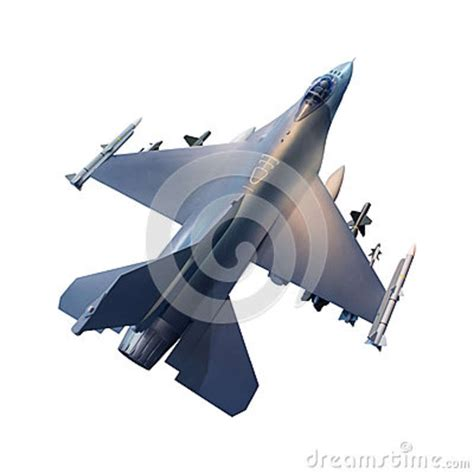 Top View Of Military Fighter Jet Plane Stock Photo