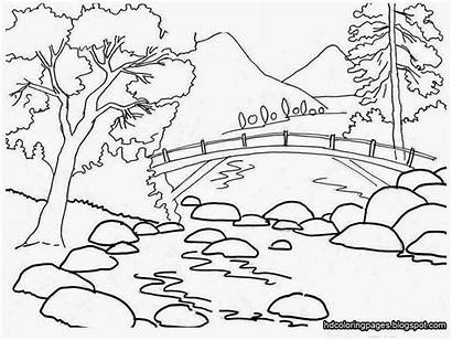 Coloring Scenery Nature Drawing Outline Mountain Scene