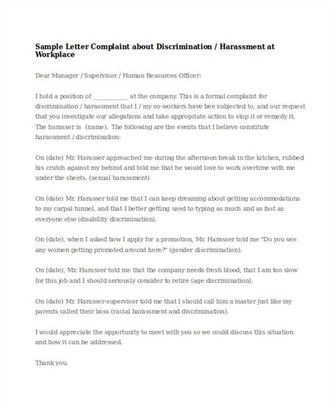 Sexual Harassment Letter Template by Sexual Harassment Letter Template Best Free Home