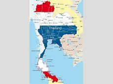 Vector kort over Thailand land farvet af nationale flag