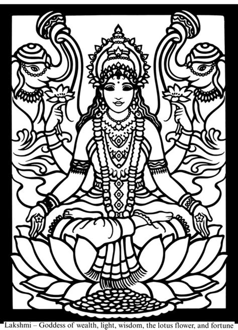 hindu gods  goddesses stained glass coloring book dover
