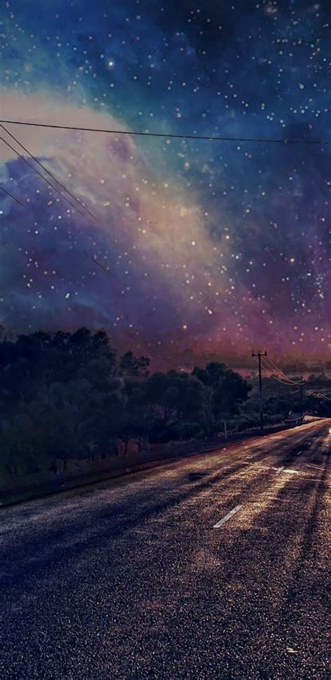 long road sky stars night wallpapers