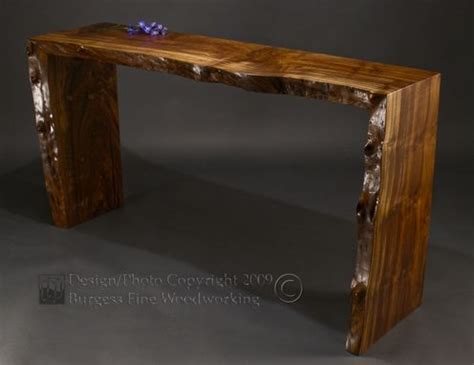 custom poured walnut sofa table  burgess fine