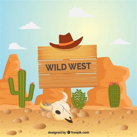 Fondo del salvaje oeste con señal de madera y sombrero