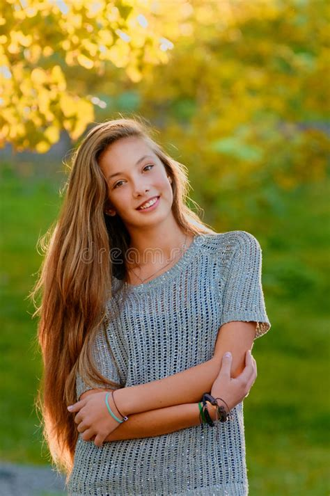 Beautiful Model And Dressed Beautiful In The Autumn Fall Stock Photo Image