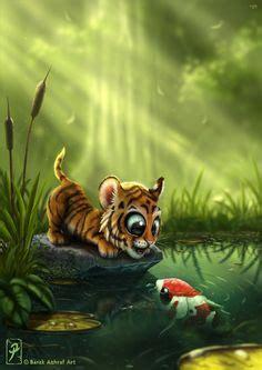 Cute Tiger Cartoon Stock Illustration