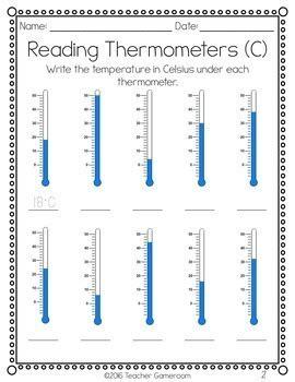 reading thermometers worksheet  teacher gameroom tpt
