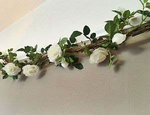 Artificial White Rose & Twig Garland, String of Ivory Faux