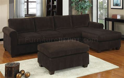 Chocolate Corduroy Sectional Sofa f7131 reversible sectional sofa in chocolate corduroy by