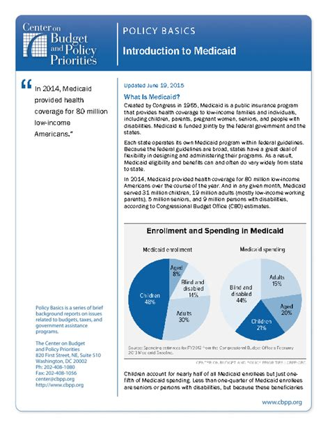 policy basics introduction  medicaid center  budget