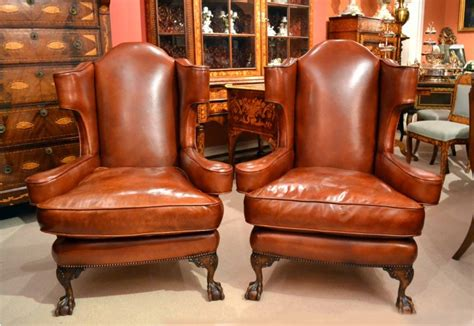 leather recliners antique pair vintage leather claw wing chairs armchairs 3700
