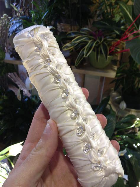 ribbon braided  rhinestone wedding bouquet holder