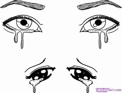 Coloring Eyes Anime Crying Drawing Pages Sheets