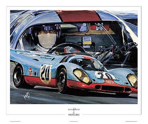 automobile art bes hessel gulf porsche steve mcqueen