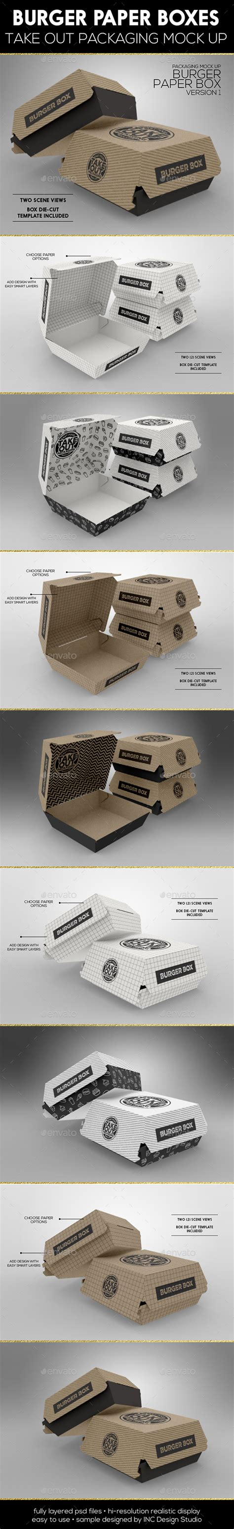 burger box mock up template burger box packaging mock up by incybautista graphicriver