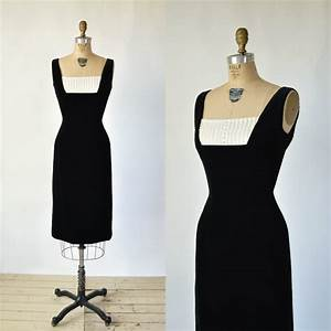 Vintage Cocktail Dress 1960s Black Velvet Dress