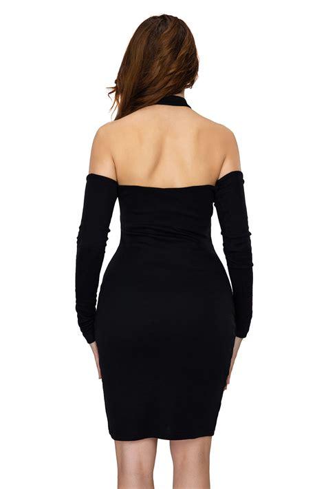 Dress Knit Choker knit ribbed choker shoulder dress sleeve