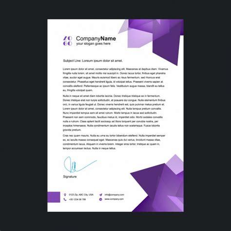 purple letterhead template vector