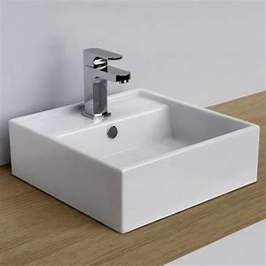 vasque a poser carree 38x38 cm plage de robinetterie With salle de bain design avec vasque rectangulaire blanche a poser