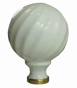 Boule De Rampe D Escalier : boule de rampe d 39 escalier torsad blanche 100 mm en porcelaine de limoges sur embase laiton ~ Melissatoandfro.com Idées de Décoration