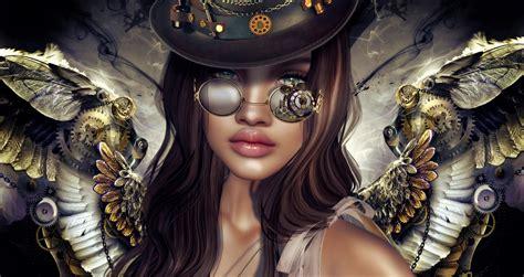 steampunk girl hd wallpaper background image