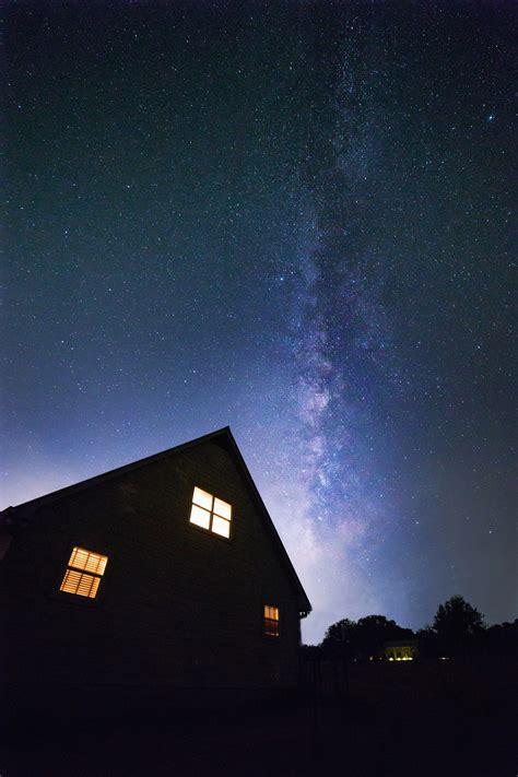 silhouette  trees  black skies  stars