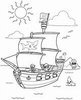 Pirate Coloring Pages Ship Printable Ships Preschool Coloriage Boats sketch template