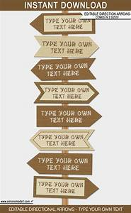 Camping Party Directional Signs Printable Direction Arrows