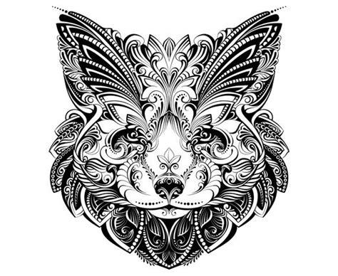 fox head mandala zentangle animal etsy