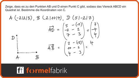skalarprodukt fehlenden vektor und eckpunkt fuer quadrat