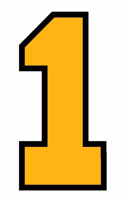 Block Numbers Gold Athletic Font Unit