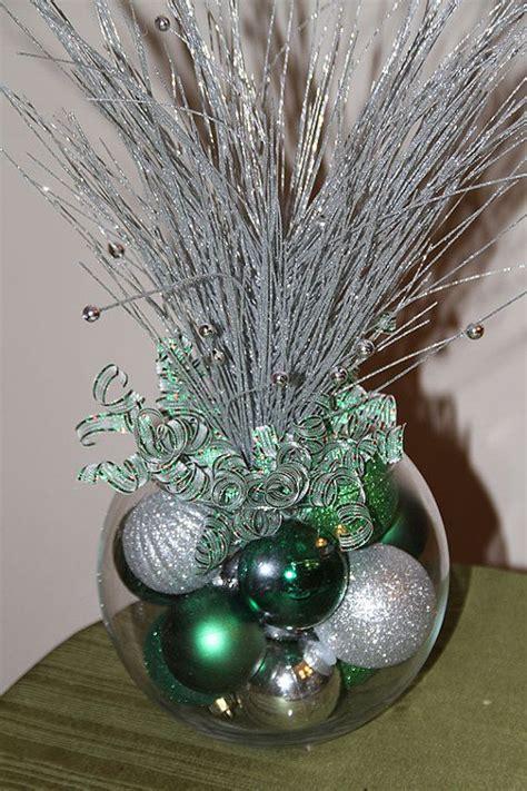 christmas centerpiece green  silver