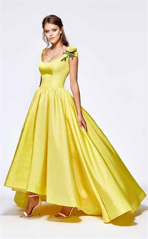 vintage bright yellow prom dress    homecoming