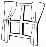 Coloring Window Curtains Pages Curtain Template sketch template
