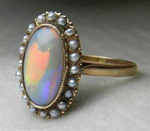 antique opal engagement ring 14k 1800s victorian opal seed With antique opal wedding rings