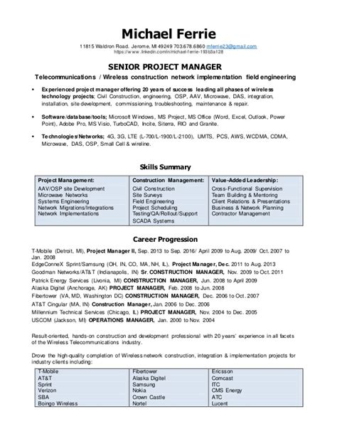 Telecom Project Manager Resume Sle by Michael Ferrie Resume Project Manager 2016 Doc