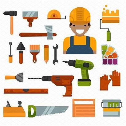 Tools Repair Building Vector Illustration Decoration Works