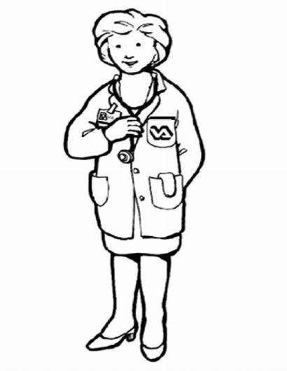 Coloring Pages Doctor Female Helpers Community Preschool