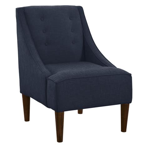 buttons swoop arm linen chair navy accent chairs at