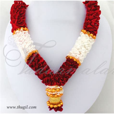 artificial wedding flowers garlands artificial flower white synthetic cloth with gold mala small size 3 mala